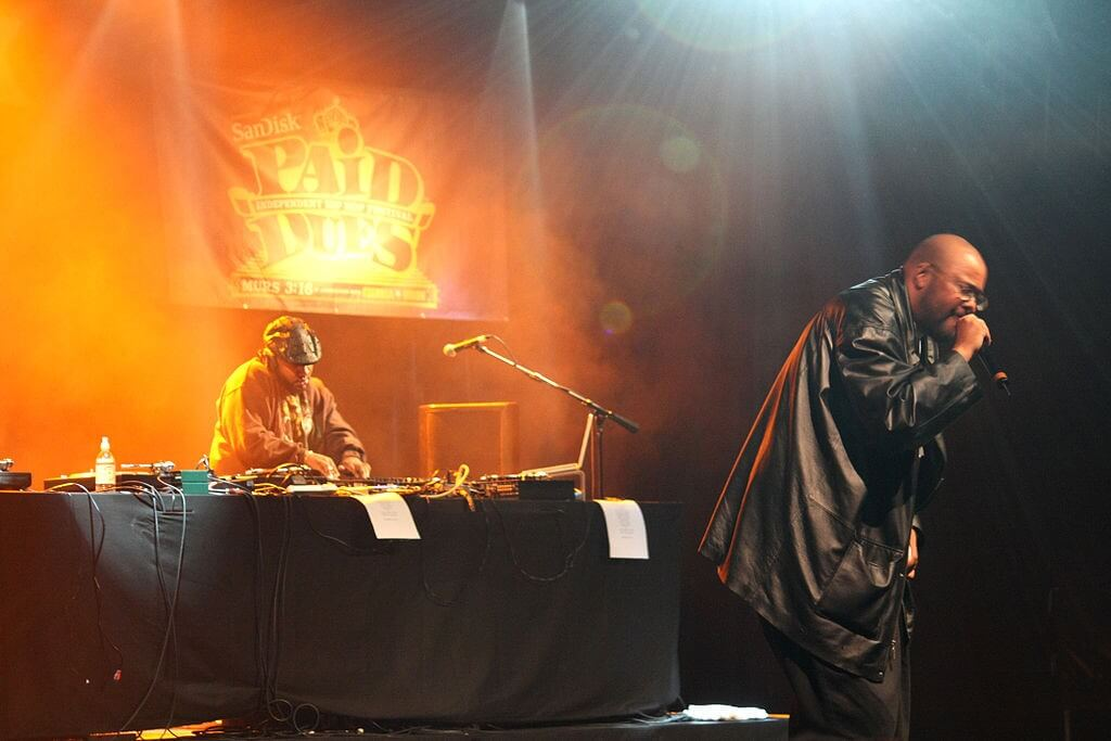 Blackalicious duo Chief Xcel (left) and Gift of Gab performing at the Paid Dues hip hop festival at the Nokia Theatre in New York City.
