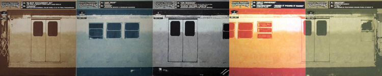 """Five 12"""" singles from Soundbombing 2 released as a collectable """"train car"""" series."""