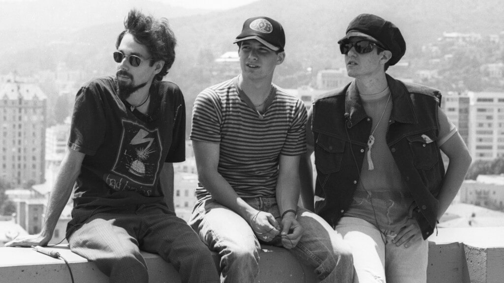 "Beastie Boys ""Hey Ladies"" flag party is held on top of the Capitol Records building in Hollywood, California; June 1989 (Photo by: Henry Diltz/Cache Agency)"