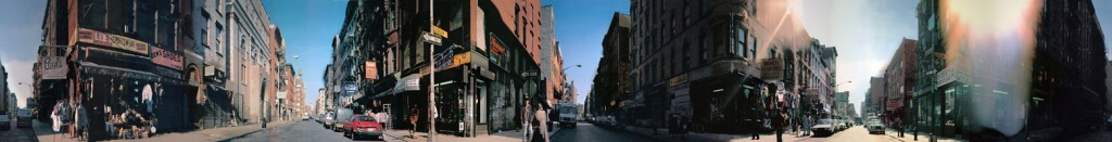 The panoramic photograph of Ludlow Street by Jeremy Shatan.