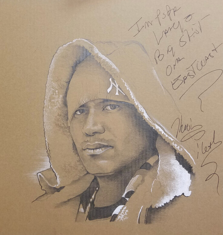 'Finished' Kool Keith portrait – Graphite and White Charcoal on Cardboard – 11.13.16