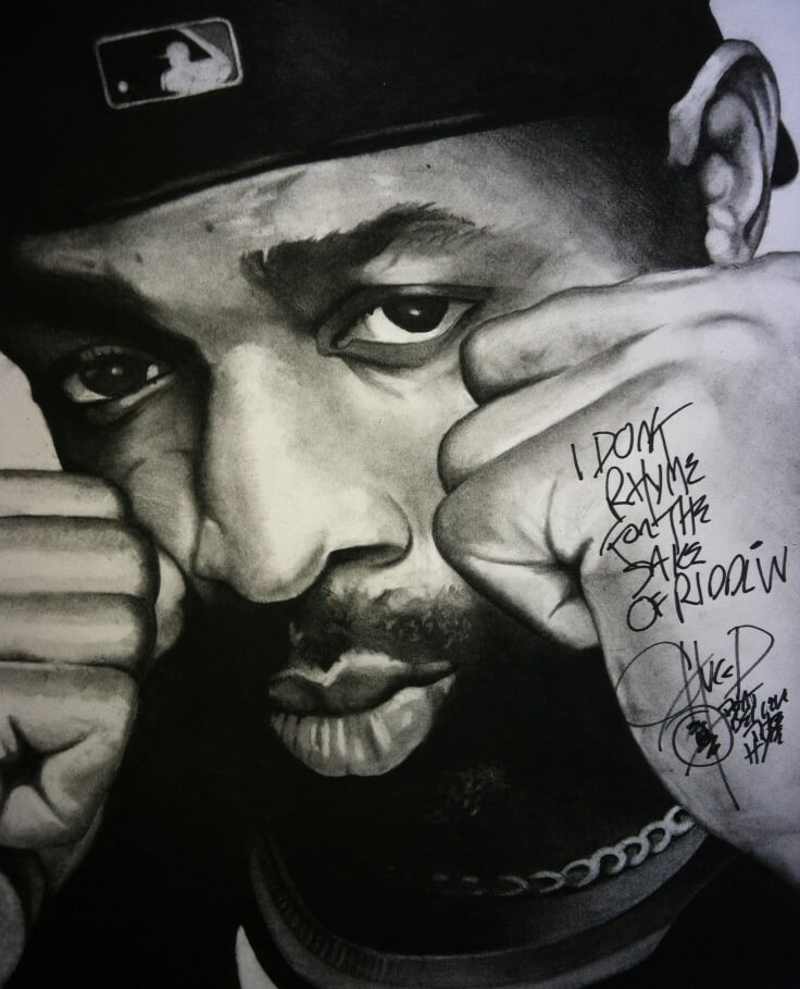 "Mr. Chuck D – 16″ x 20″ Charcoal on Paper – (signed by Chuck D – ""I don't rhyme for the sake of riddlin' – Chuck D – Don't Believe the Hype"")"