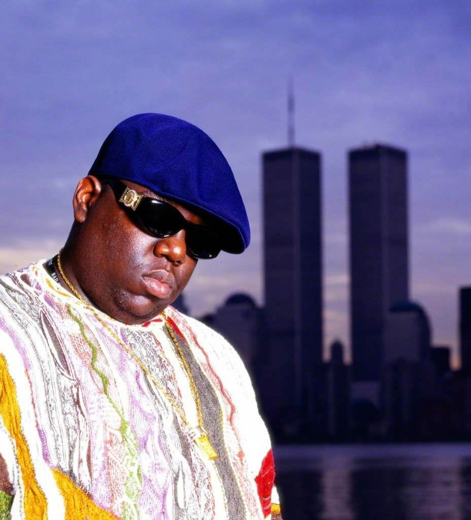 24 Jun 1994, Jersey City, New Jersey, USA --- Notorious BIG (Christopher Wallace) standing in front of the World Trade Center buildings. --- Image by © Chi Modu/Diverse Images/Corbis